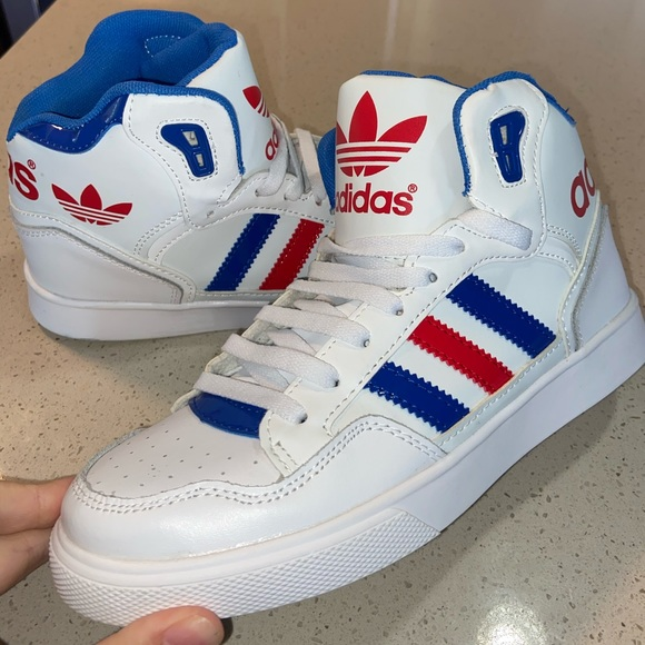 red white and blue adidas high tops cheap online